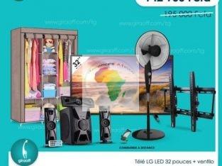 Télé LG LED 32 pouces+ ventilo + accroch